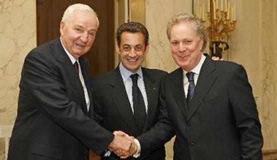 Paul Desmarais Sr., N. Sarkosy et J. Charest